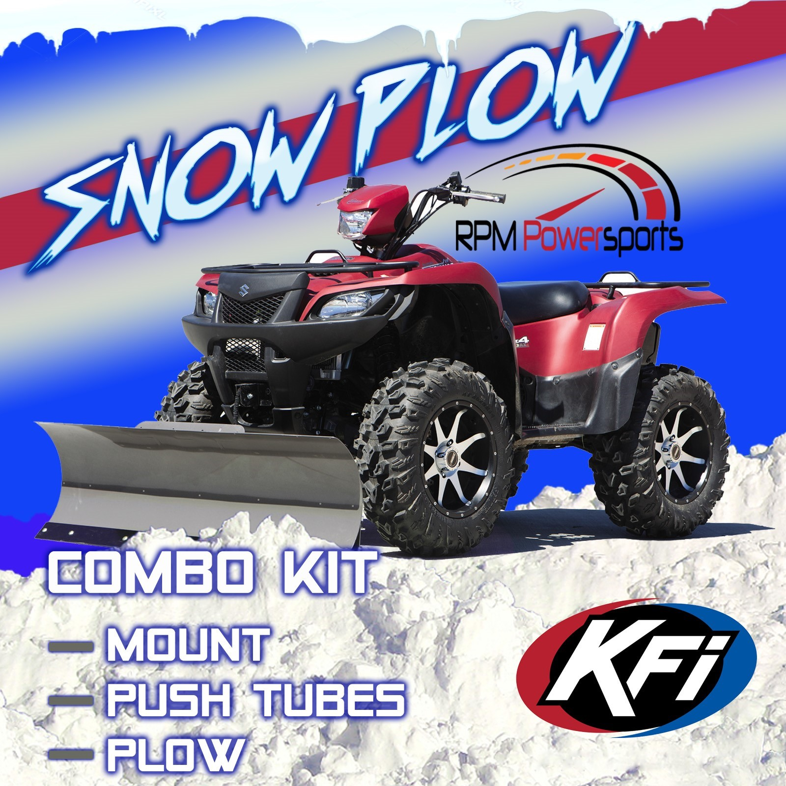 "KFI ATV 60"" Snow Plow Kit Combo Polaris ATP 330 500 2004-05 Magnum 330  2003-06 