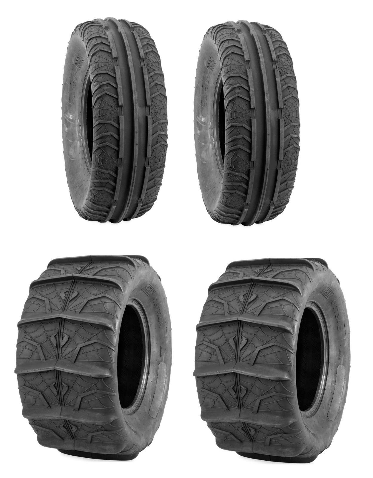 Pair QuadBoss UTV SXS Sand Dune Rear Paddle Tires QBT346 6 Ply 28X13-14