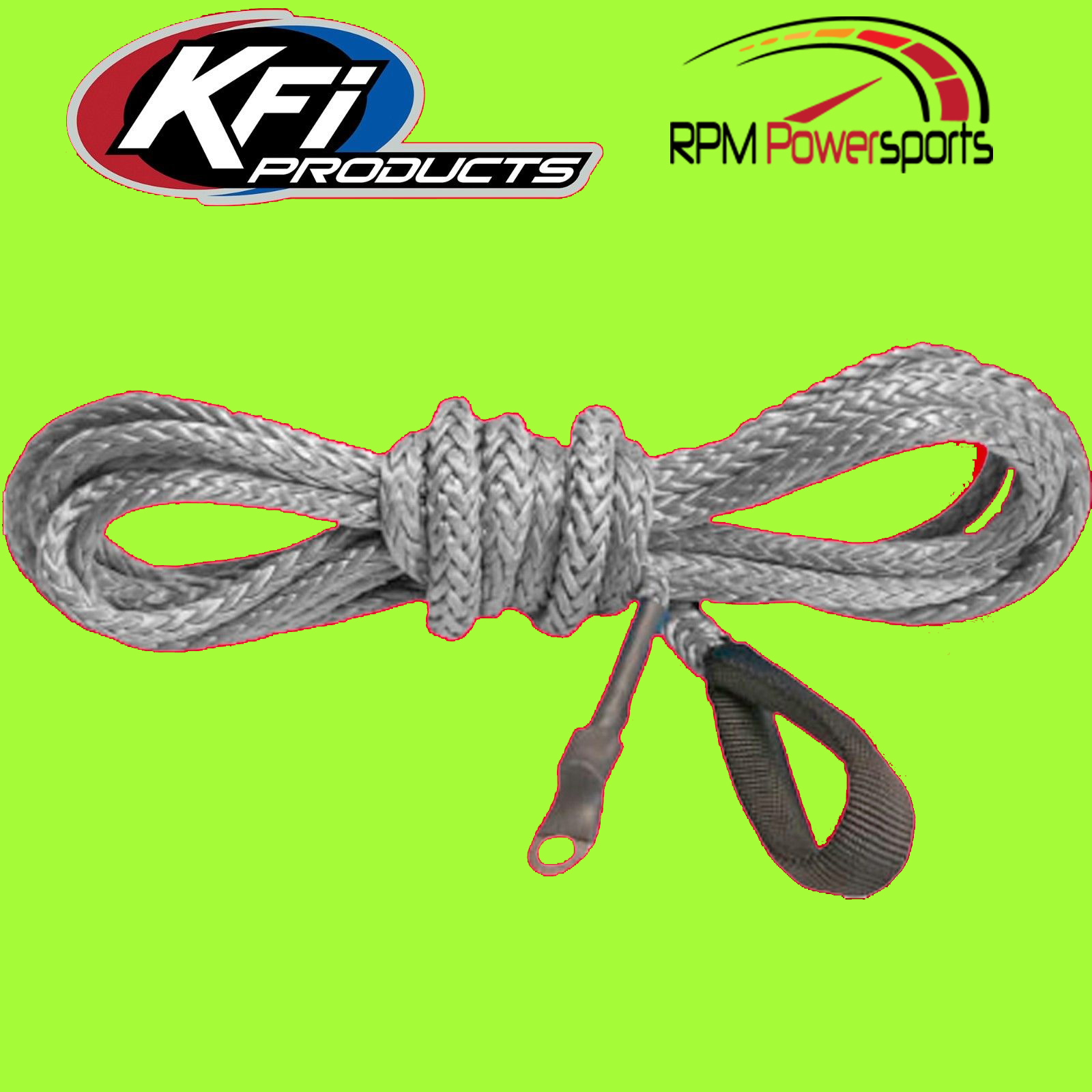 SMOKE KFI PRODUCTS Synthetic ATV Winch 12 ft Plow Cable Rope FREE SHIP